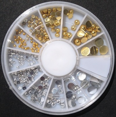 400Pcs/Box Gold Silver Round Flat Back Studs Wheel