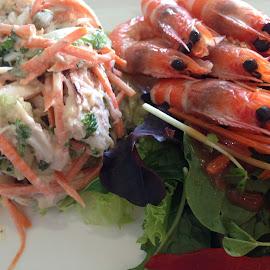 Fresh Prawns and Fresh Salad! by Dawn Simpson - Food & Drink Plated Food ( seafood, delicious, sald, prawns )