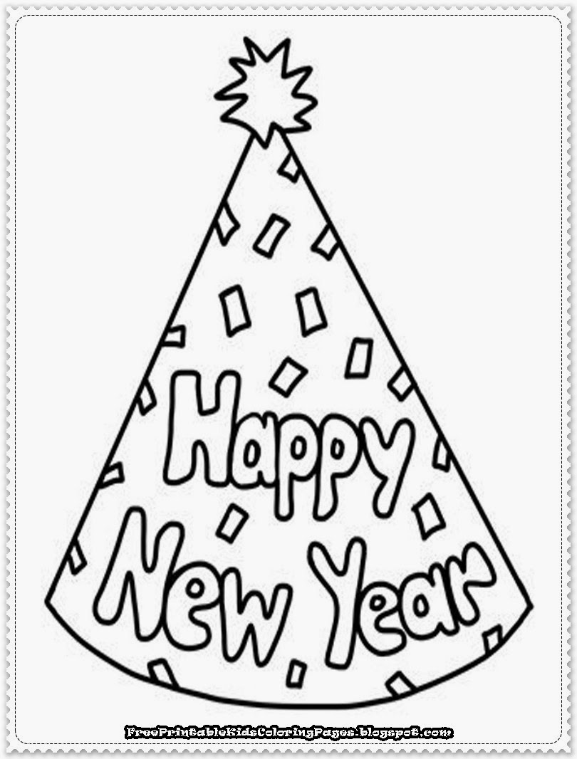 happy new year printable coloring pages - New Year's Coloring Pages