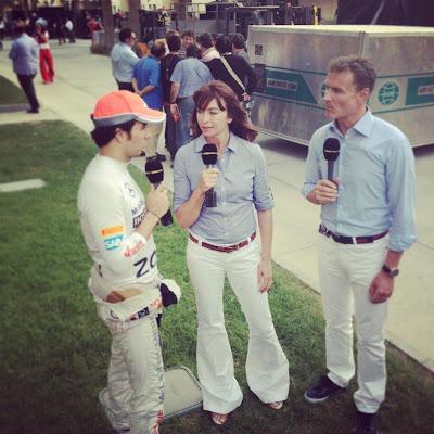 Сьюзи Перри и Дэвид Култхард берут интервью у Серхио Переса на Гран-при Бахрейна 2013