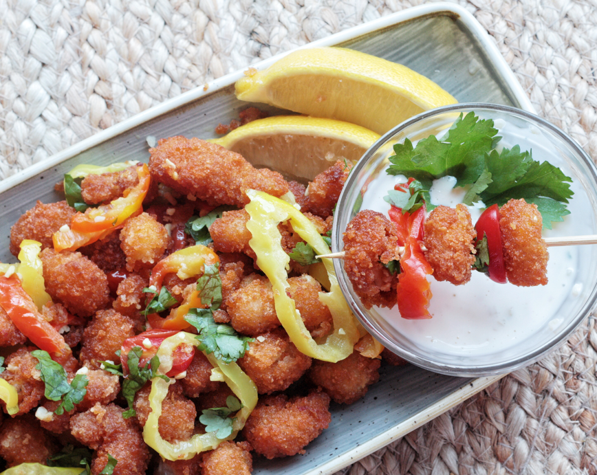 Rhode Island Style Popcorn Shrimp with Lemon Garlic Aioli