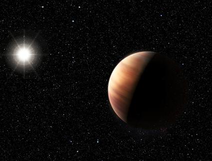 ilustração de um gêmeo de Júpiter em torno de estrela