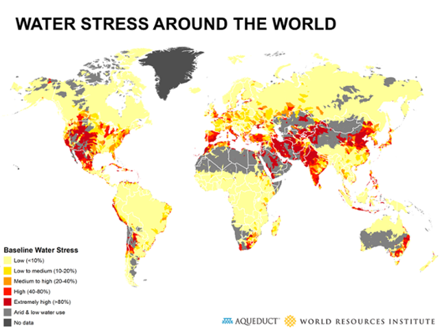 Water stress around the world. Graphic: WRI