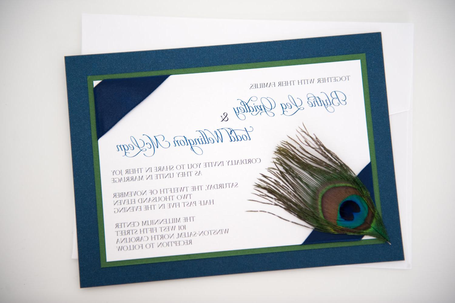 Custom Corner Peacock Feather Wedding Invitation. From yourstrulyinvitation