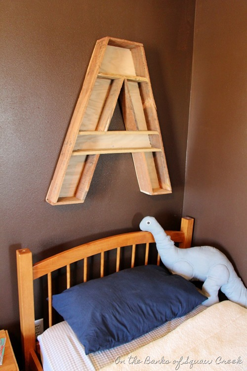 DIY letter A shelf