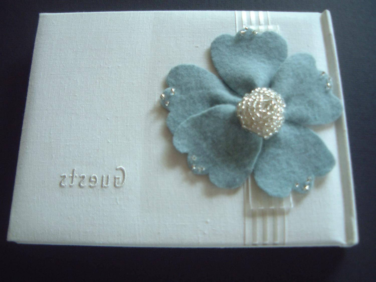 Guest Book Anemone Wedding Tiffany Blue Flower Hallmark White