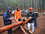 Los Rovers preparan el tronco para el pase de sección
