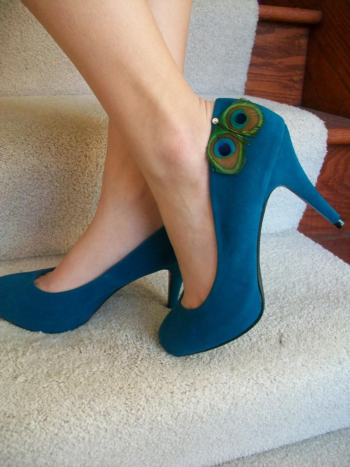 Peacock Shoes Teal Blue High