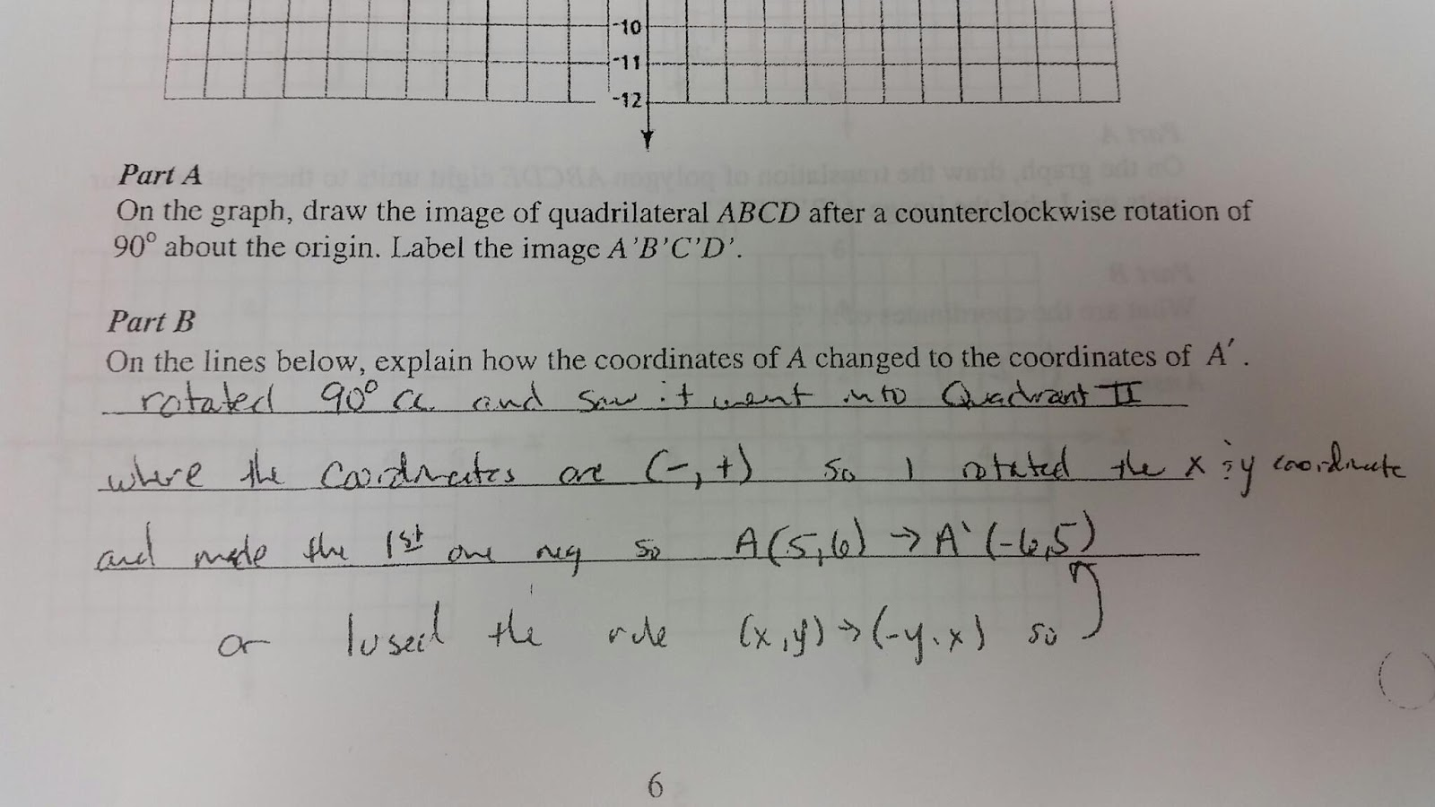 MATH 8 WITH MRS. REICHE: Transformation Test Review Answers #12-16
