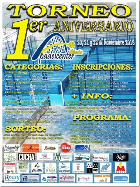1er Torneo Aniversario Padel Center Úbeda del 20-22 Noviembre de 2015.