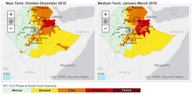 Food security outlook for Ethiopia, October 2015 to March 2016. A large-scale food security emergency is projected for 2016. Graphic: FEWS NET