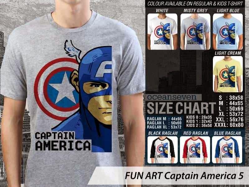 KAOS Captain America 5 Kartun Lucu distro ocean seven