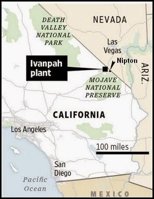 Map of Ivanpah Solar Plant