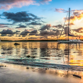 Sunset with Boats by Rqserra Henrique - Landscapes Waterscapes ( water, clouds, brazil, sunset, boats, natal, rqserra )