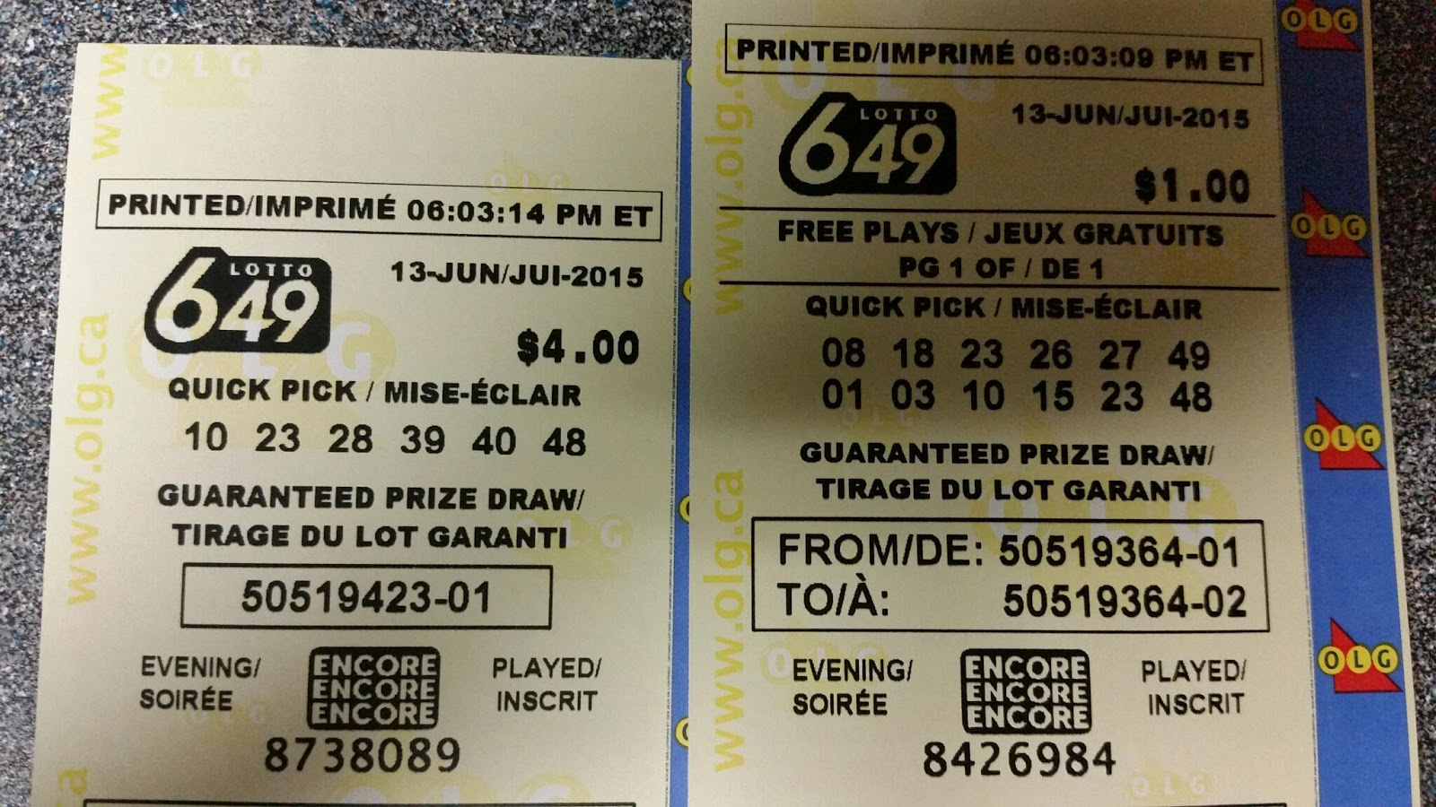 Shannon's Group Lottery: Lotto 6/49 - June 6, 2015 - June ...