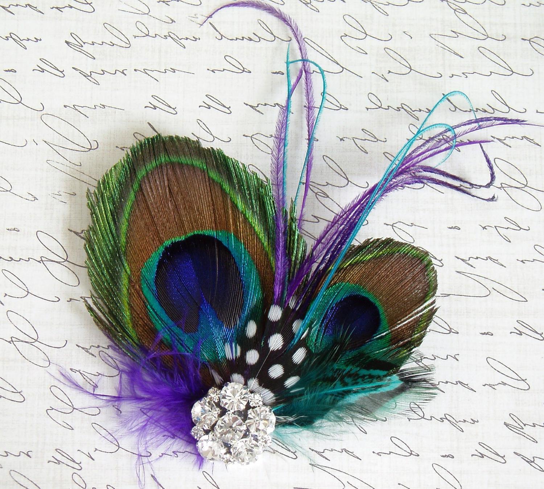 Bridal Veil Clip -Peacock