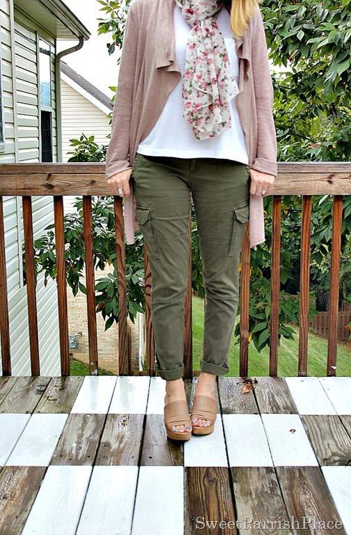 Army-green-pants flowy-cardigan-floral-scarf4