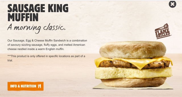 Burger King Sausage King Muffin