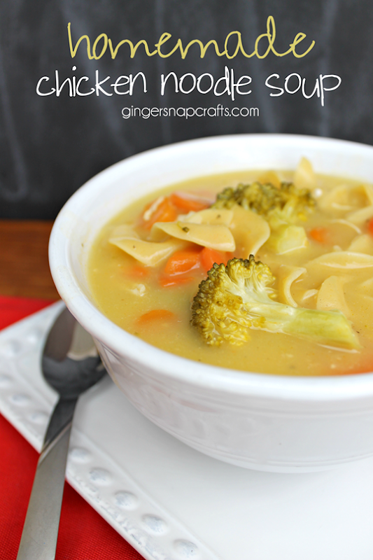Homemade Chicken Noodle Soup at GingerSnapCrafts.com   #cansgetYOUcooking #sponsored