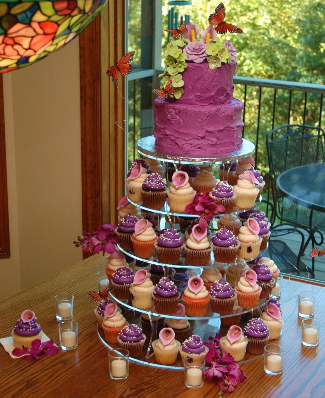 purple and blue wedding cakes