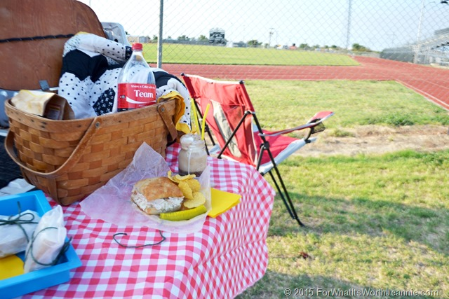 Tailgate picnic basket sandwich coke float at football field