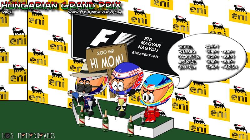 Себастьян Феттель, Дженсон Баттон и Фернандо Алонсо на подиуме Гран-при Венгрии 2011 от Los MiniDrivers