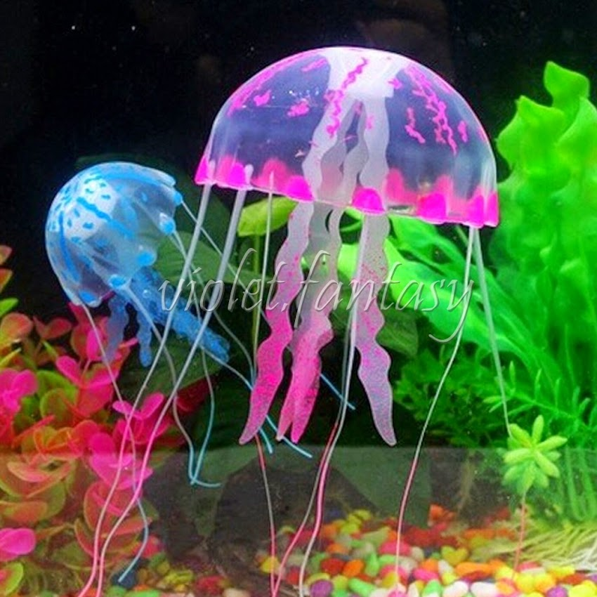 Jellyfish String Lights : Silicone Emulational Decoration Fluorescent Effect Jellyfish Aquarium Fish Tank eBay