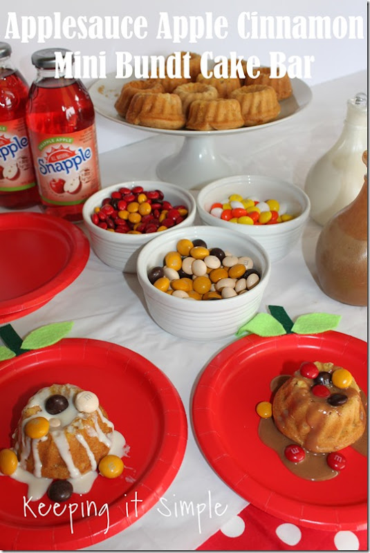 #ad Mini-Applesauce-Apple-Cinnamon-Bundt-Cake-Bar #BakeintheFun