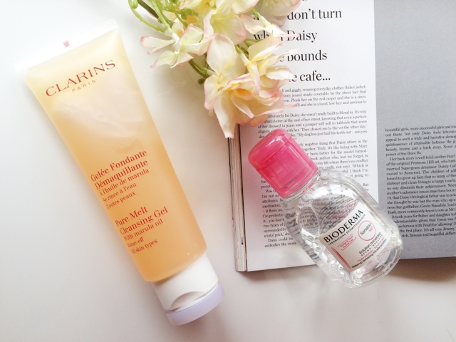 Clarins pure melt cleansing gel, Bioderma, skincare routine, skincare for oily skin