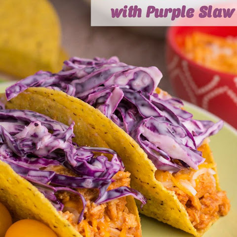 BBQ Chicken Tacos with Easy Purple Slaw