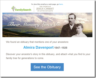 FamilySearch obituary marketing campaign email