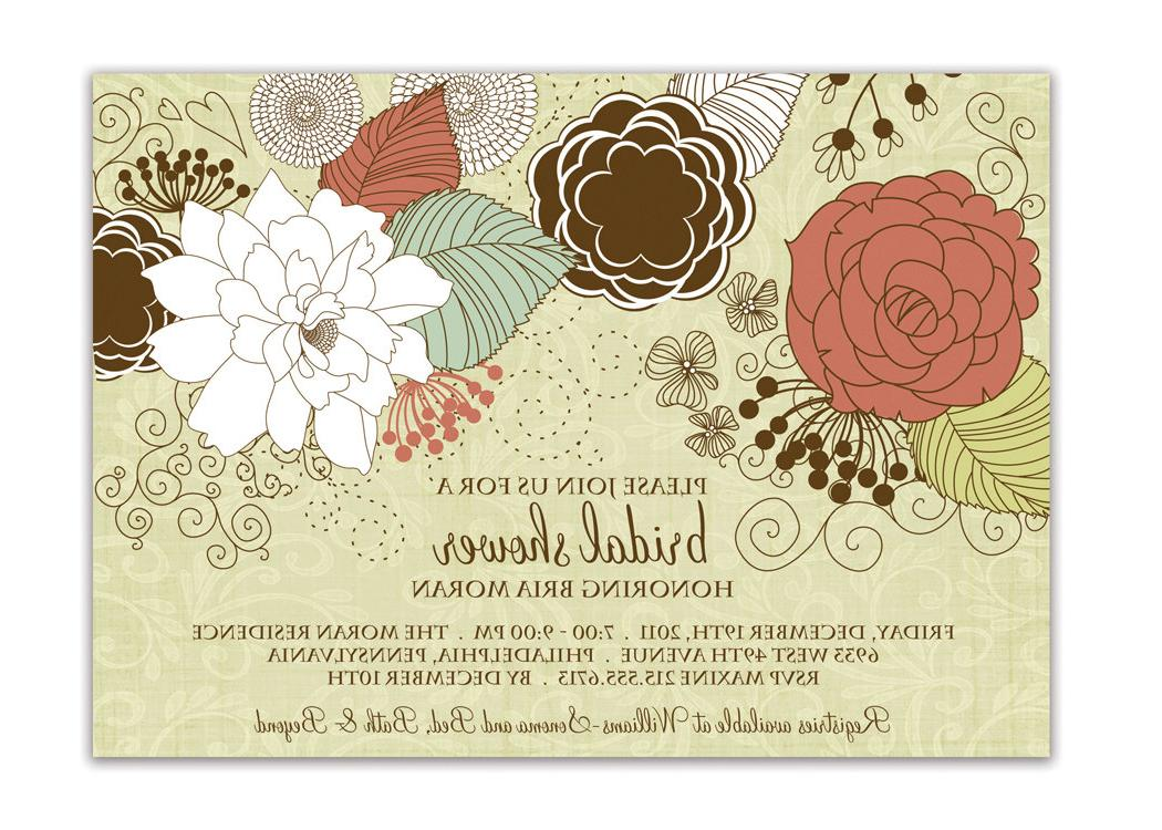 Bridal Shower Invitation Shabby Chic Floral Baby Shower Wedding Invitation