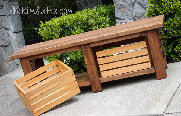 X-Leg Wooden Bench with Crate Storage for Under $40 - The ...