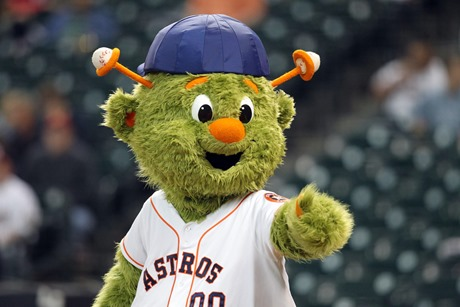 May 2, 2013; Houston, TX, USA; Houston Astros mascot Orbit performs before a game against the Detroit Tigers at Minute Maid Park. Mandatory Credit: Brett Davis-USA TODAY Sports