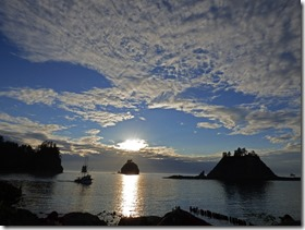 La Push Ocean Sunset with boat passing through