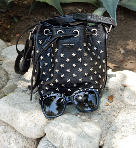 I paired the Saint Laurent Star Studded Emanuelle Bucket Bag with my Valentino Rockstud Sunglasses for that Rocker chic look