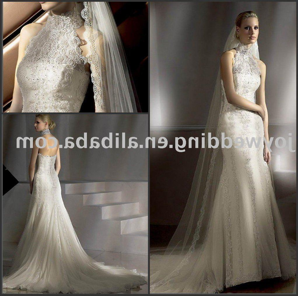 Popular new white ivory lace wedding gown W1626