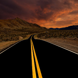 Valley of Fire VI  by Roland Shanidze - Transportation Roads ( desert, roland shainidze, ladnscape, road, yellow, dramatic sky, sky, sunset, outdoors, lines, perspective, valley of fire, black, nevada national park )