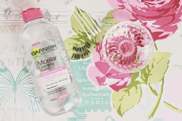 Garnier micellar water and Ardell demi wispies false eyelashes