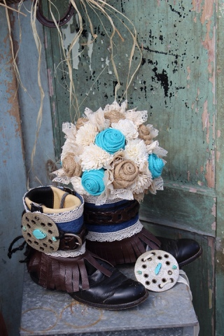 Boots and Bouquets - rustic turquoise bouquet and boot cuffs