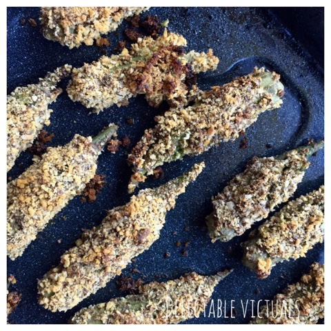 Almond Panko Encrusted Baked Stuffed Okra