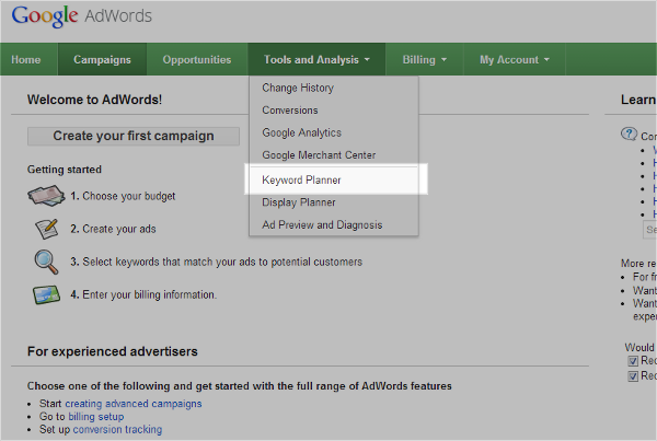 Adwords Keyword Tool 1