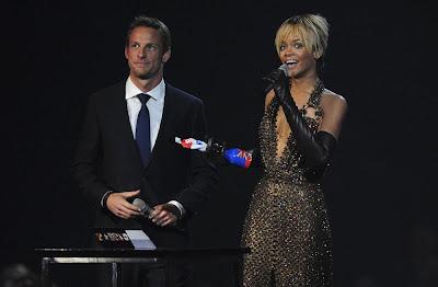 Дженсон Баттон и Rihanna на Brit Awards 2012 в Лондоне 21 февраля 2012
