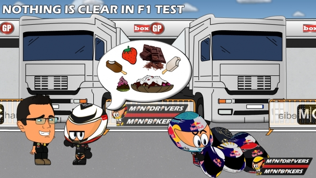 Кими Райкконен определяется с вкусняшками а Себастьян Феттель со шлемами - Los MiniDrivers
