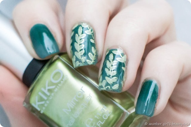 Novemberlackliebe Stamping Blätter Jungle Leaves Gradient Green Nailart Design-2