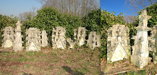 Каменные скульптуры от фасада Готического костёла. ок.1730 г. Всего девять шпилей.