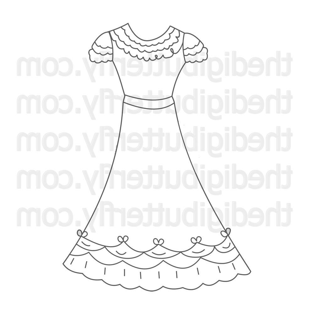 Wedding Dress Digi Stamp