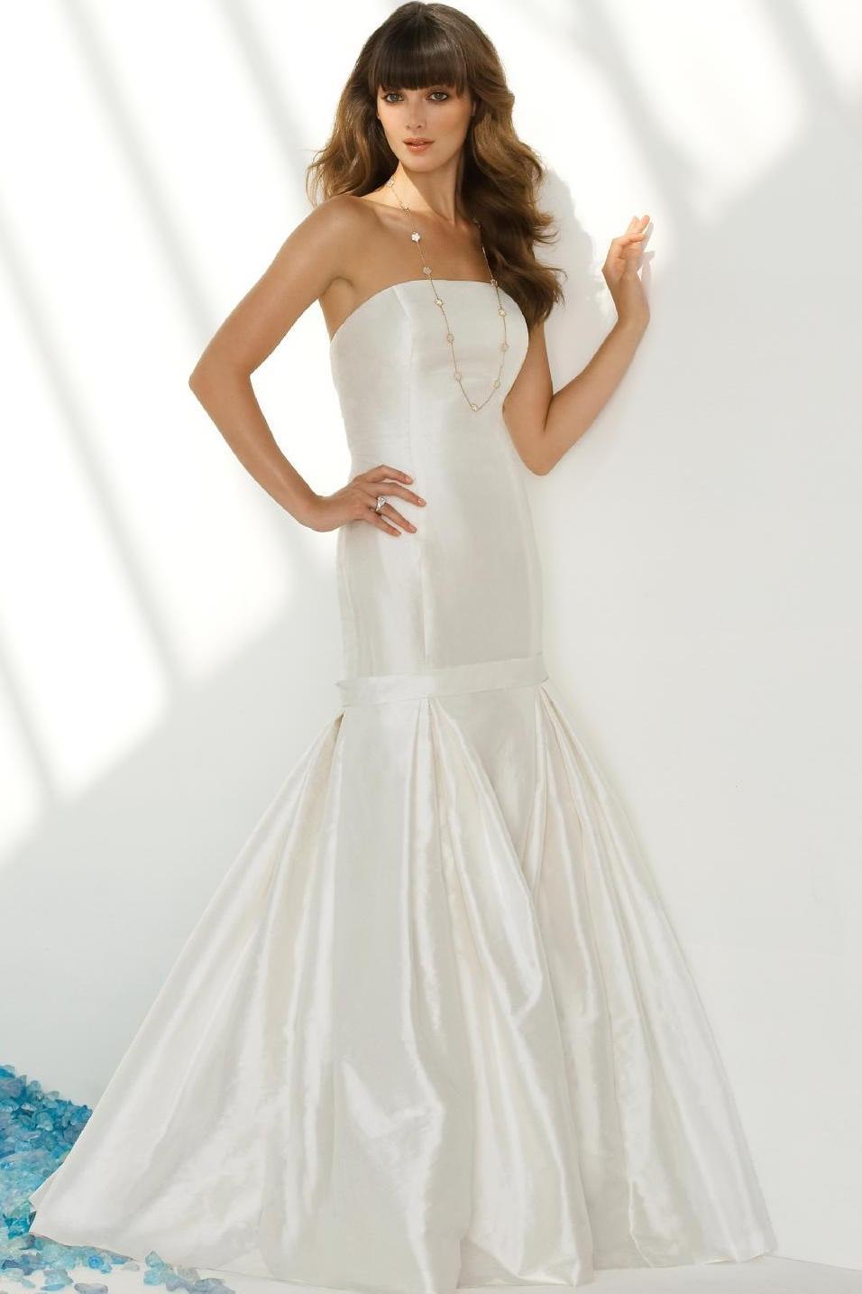 White Strapless Taffeta Mermaid Wedding Dress QA0180