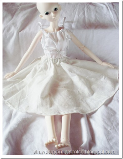 BJD in an off white circle skirt with elastic waistband