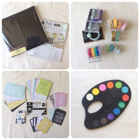 Scrapbook album, project life pages, washi tape, journaling cards, water color paint